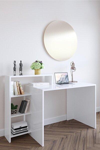 Linex Kitaplıklı Çalışma Masası Beyaz