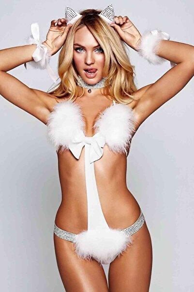 Merry See Kadın Beyaz Kedi Kız Kostüm