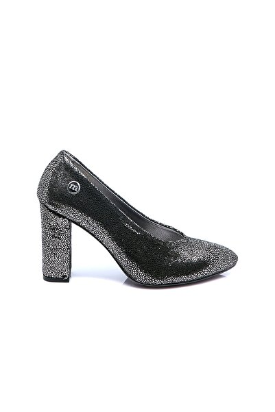 Mammamia Kadın Platin Sim  Deri Topuklu Ayakkabı
