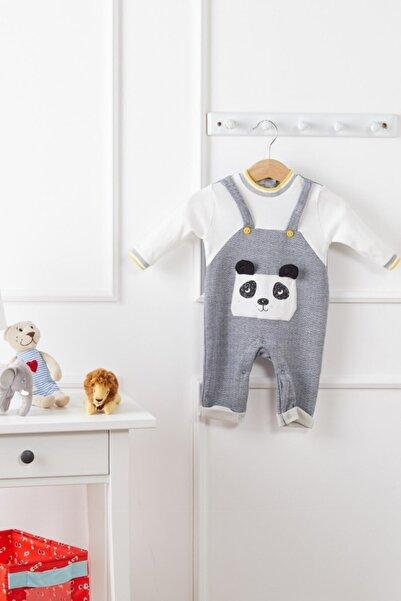 Bonne Lacivert Panda Işlemeli Tulum 3-6-9 Ay