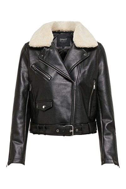 Only Kadın Siyah Kürklü Ceket Teddy Faux Leather Jacket- 15209316