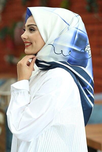 AFVENTE Kadın Mavi Desenli Twill Eşarp