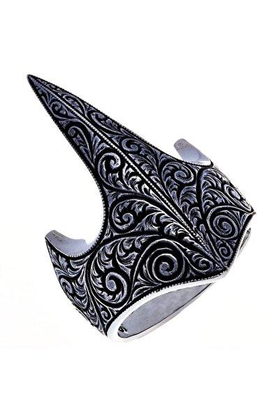Takı Dükkanı Erkek Siyah Motifli Miğfer Okçu Zihgir Gümüş Yüzük msr389
