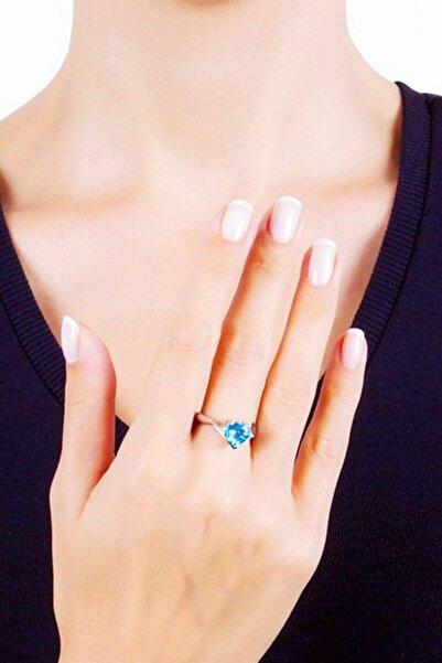 Bella Gloria Pırlanta Mavi Topaz Aşk Yüzüğü (GPY0009)