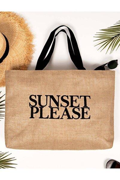 OCEAN HOME Sunset Please Baskılı Jüt Plaj Çantası