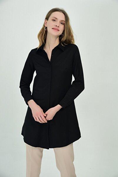 Cotton Mood 9072734 Şamre Uzun Kollu Gömlek Sıyah