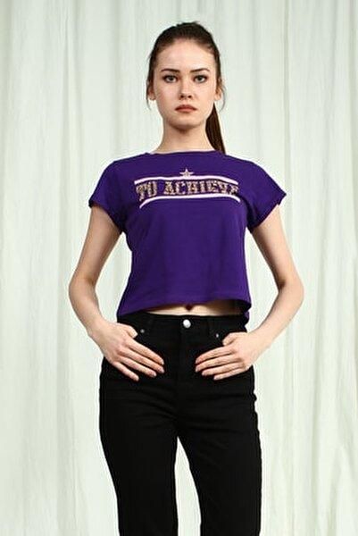 Kadın Mor Bisiklet Yakalı Kısa Kollu Crop T-Shirt