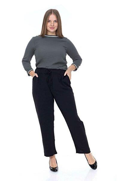 1fazlası Büyük Beden Beli Lastikli Aerobin Kumaş Pantolon