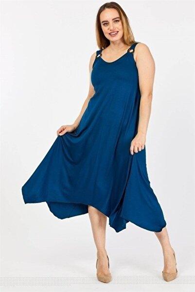Osyoumoda Büyük Beden Halka Detaylı Askılı Asimetrik Kesim Elbise