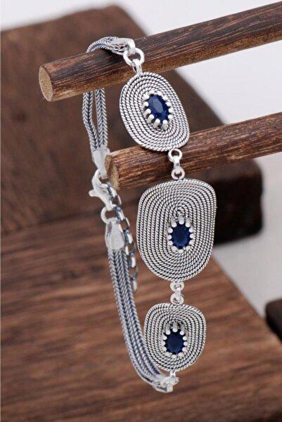Sümer Telkari Safir Taşlı Tasarım Telkari Gümüş Bileklik 3129