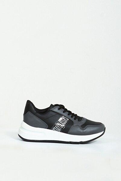 Collezione Siyah Yan Yazı Detaylı Bağcıklı Kalın Taban Kadın Sneaker