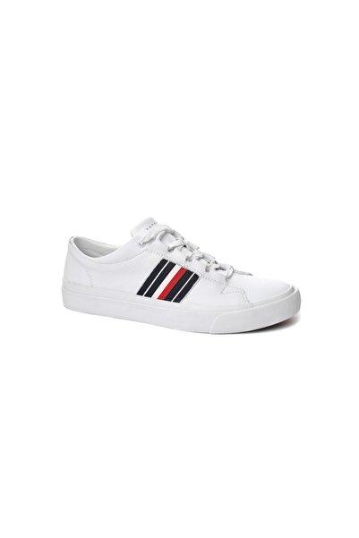 Tommy Hilfiger Beyaz Erkek Oxford/ayakkabı Fm0fm01943 100 Corporate Leather Low Sneaker Low Cut Whıt