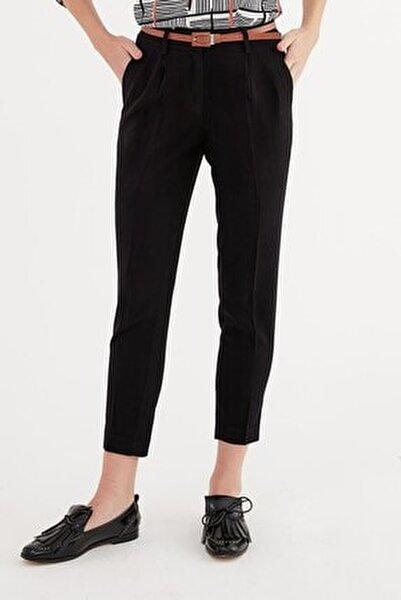 Pantolon-deri Kemer Kombinli, Arka Bel Lastik Detaylı Dar Paça