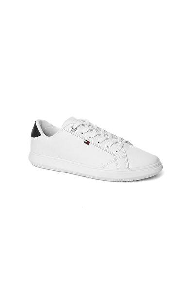 Tommy Hilfiger Beyaz Erkek Oxford/ayakkabı Fm0fm01987 100 Essentıal Leather Cupsole Low Cut Whıte