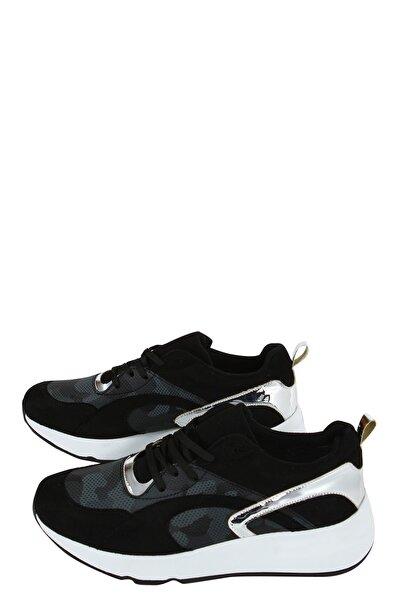Collezione Siyah Önü Desenli Gümüş Parça Detaylı Kadın Sneaker