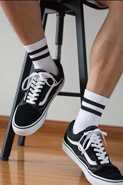 CARNAVAL SOCKS 3'lü Siyah Şerit Desenli Renkli Tasarım Çorap
