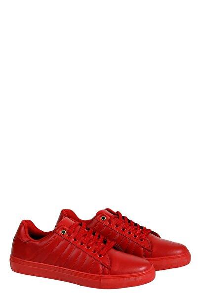 Collezione Kırmızı Yan Dikiş Detaylı Bağcıklı Düz Taban Erkek Sneaker