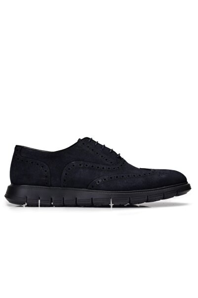 Nevzat Onay Hakiki Deri Lacivert Günlük Bağcıklı Erkek Ayakkabı -8376-