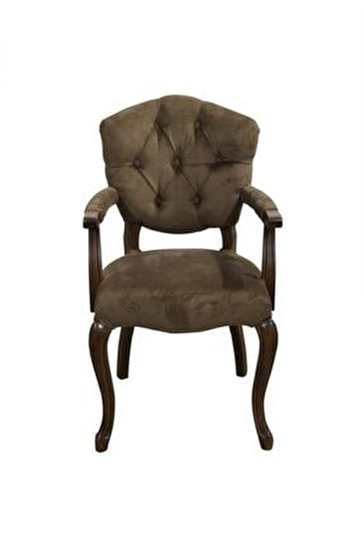 Bengi Lüx Kolçaklı Ahşap Berjer Sandalye Kahve