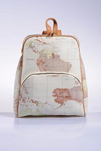 Luxury Sg1861 White Map Kadın Sırt Çantası