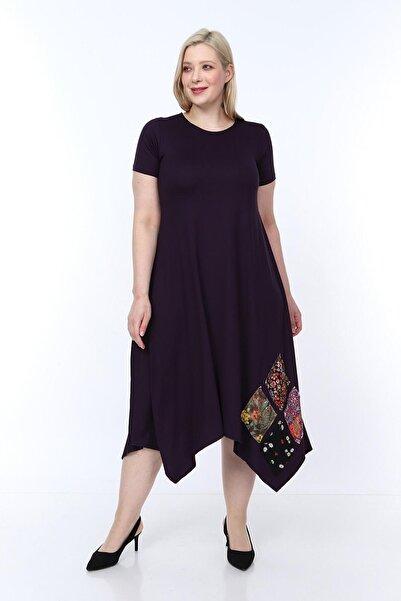 Osyoumoda Büyük Beden Asimetrik Kesim Günlük Elbise
