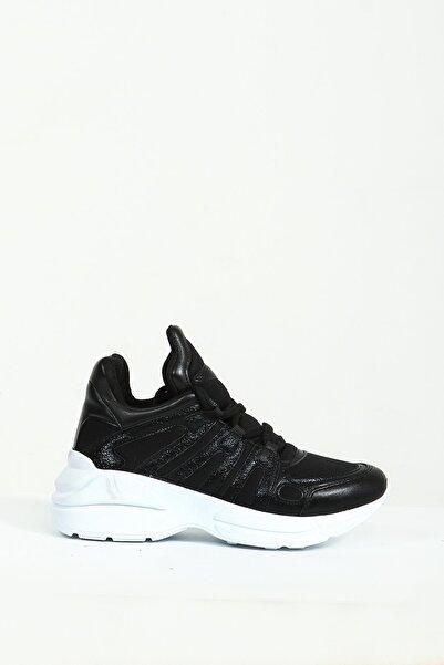 Collezione Siyah Bağcıklı Kalın Taban Kadın Sneaker
