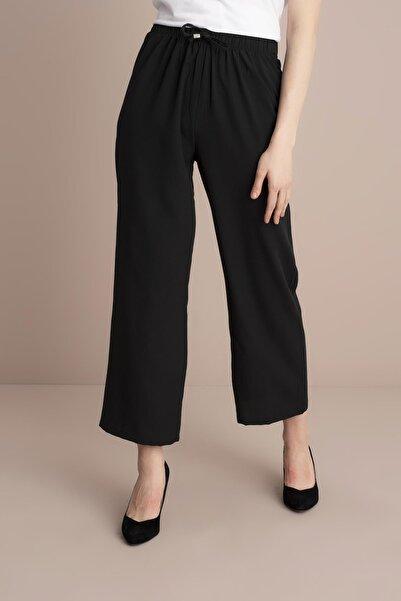 TENA MODA Kadın Siyah Bel Lastikli Bol Paça Pantolon