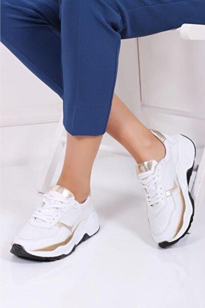 Deripabuc Hakiki Deri Beyaz Gold Kadın Deri Sneaker Trc-fbb