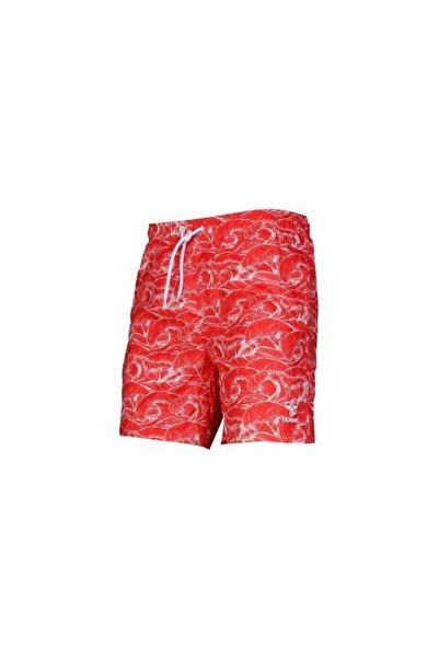 HUMMEL Erkek Kırmızı Desenli Casey Yüzme Deniz Şortu