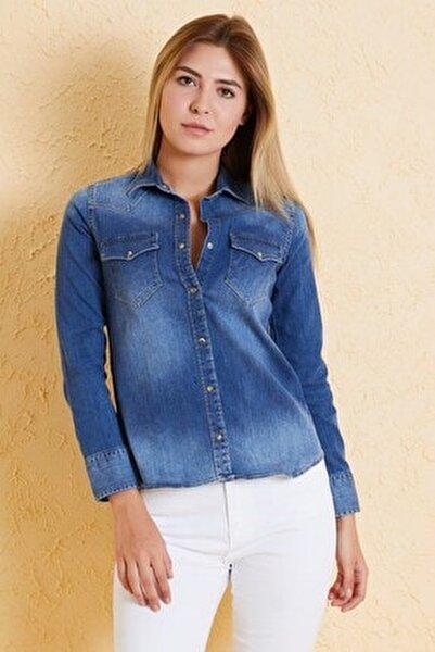 Kadın Slim Fit Gömlek Bg 812-03 A.mavı