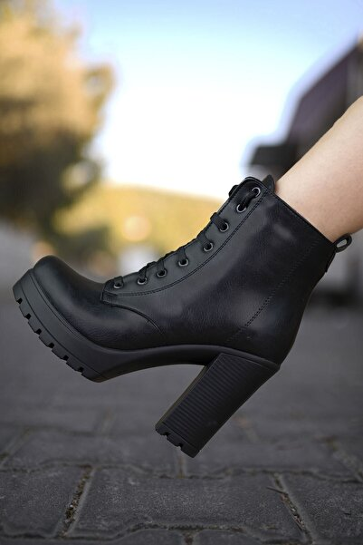 Riccon Cilt Siyah Kadın Yüksek Topuklu Bot 0012sp01