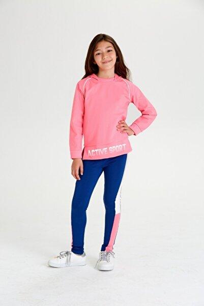 Wonder Kıds Kız Çocuk Kapüşonlu Neon Pembe Active Sport Sweatshirt