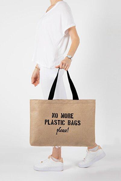 OCEAN HOME No More Plastic Bags Baskılı Jüt Plaj Çantası