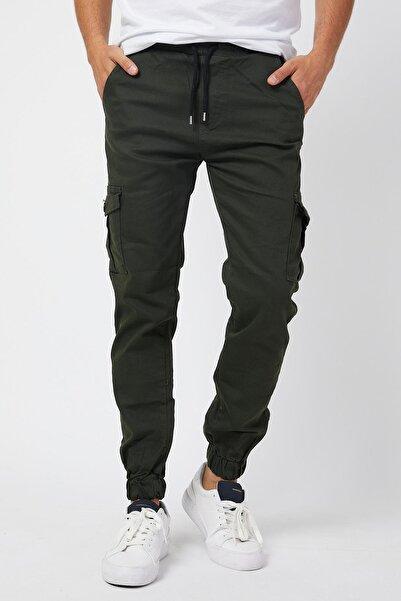 Serseri Slim Fit None Denim Yandan Cepli Bel Bağcıklı, Paçaları Lastikli Esnek Kumaş Erkek Kargo Pantolon