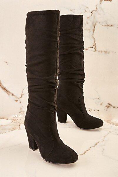 Bambi Siyah Süet Kadın Çizme K0503580072