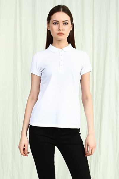 Collezione Beyaz Polo Yaka Kısa Kollu Basic Kadın Tshirt