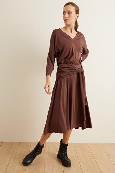 adL Kadın Kahve Örme Belden Bağlamalı Elbise