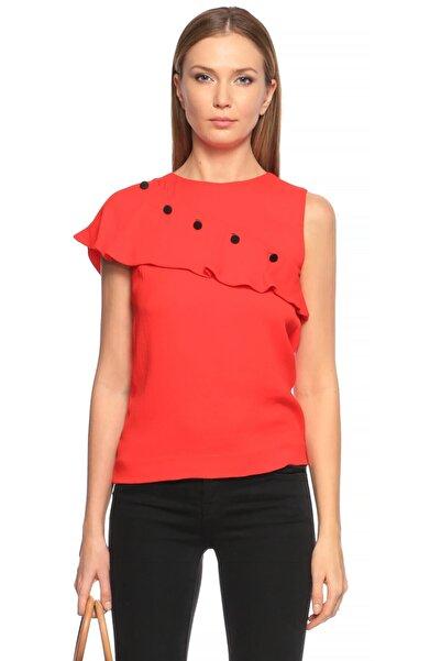 Maje Fırfırlı Kırmızı Bluz