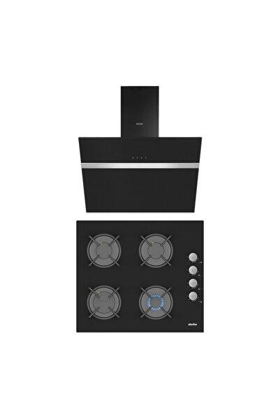 Simfer Siyah Cam 60 Cm Ikili Ankastre Set (3500 Ankastre Ocak + 8611 Davlumbaz)