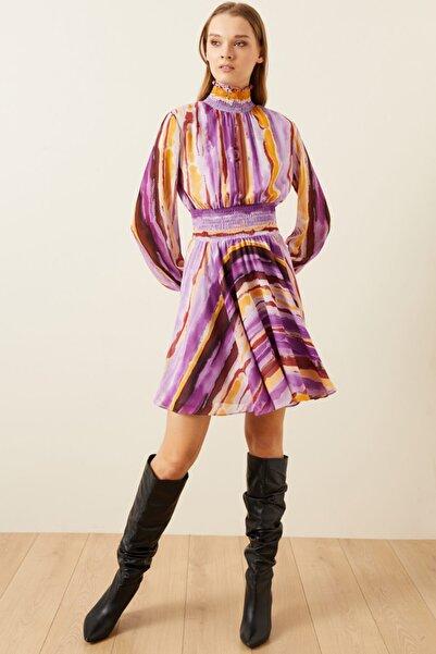 adL Kadın Pudra Kroşetalı Desenli Mini Elbise 12439336000