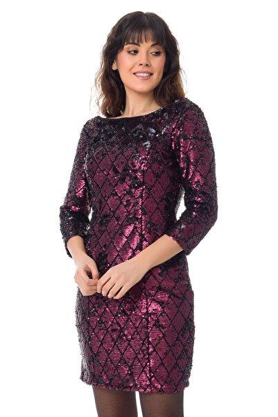 Miss Selens 7689 Pulpayet Baklava Desen Sırt Detaylı Elbise
