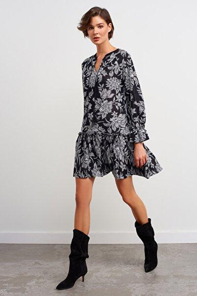 JOIN US V Yaka Desenli Triko Elbise-siyah