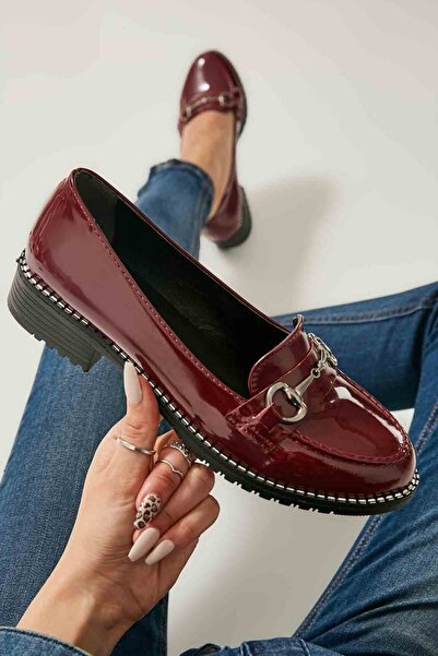Bambi Bordo Kadın Loafer Ayakkabı M07782341