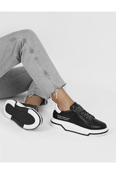 İLVİ Fild Hakiki Deri Kadın Siyah - Beyaz Spor Ayakkabı