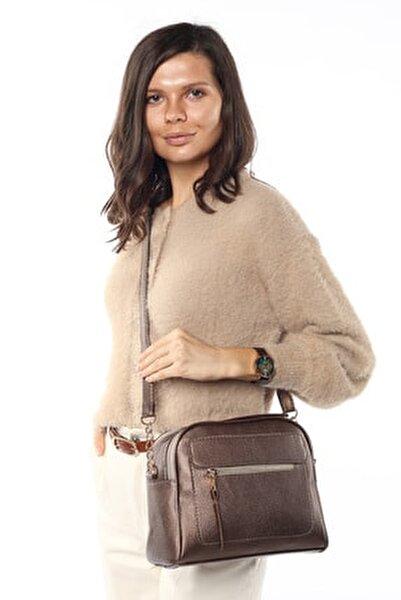 Aynı Butikte 2.Ürün 1 TL  Bakır Kadın Çok Bölmeli Omuz Çantası Çapraz Çanta ve El Çantası