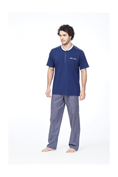 Çift Kaplan B8602 Battal Erkek Ekose Kısa Kol Pijama Takımı