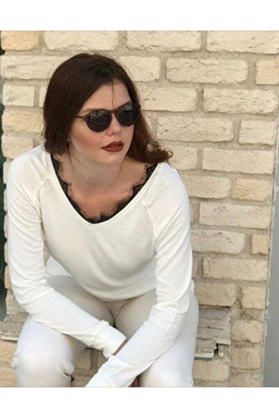 TREND Büyük Beden Kadın Ekru Bayan Bluz