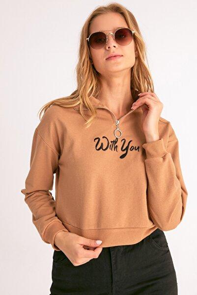 Fulla Moda Yarım Fermuarlı Nakışlı Sweatshirt