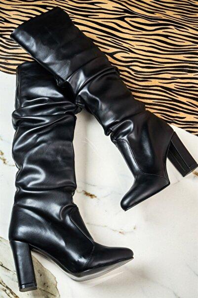 Bambi Siyah Kadın Çizme K0503610009