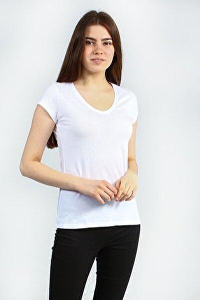 Beyaz V Yakalı Kısa Kollu Basic Kadın Tshirt